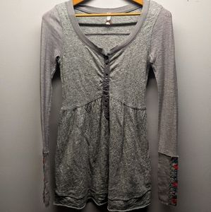 Free People Grey Embroidered Flowers on Sleeve